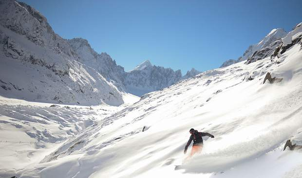 A rider tackles terrain at Chamonix, France. The area will be one of the destinations visited in winter 2020 by a team hired for the Ski.com Dream Job program.