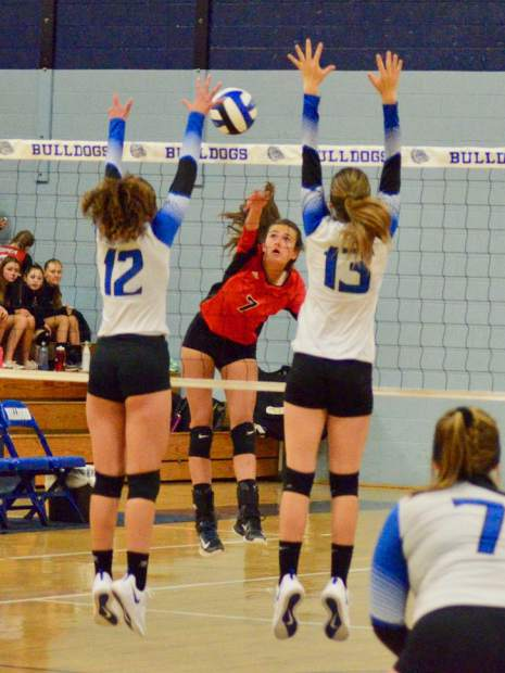 The Moffat County High School volleyball team hosts Aspen on Saturday, Sept. 14, 2019, in Craig. The Bulldogs won, 3-0.