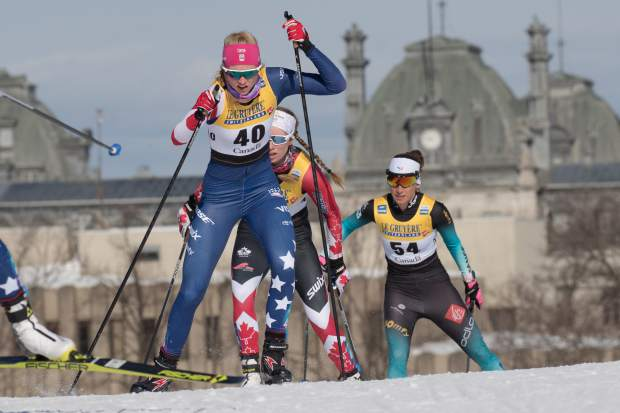Basalt native Hailey Swirbul competes in the World Cup cross-country skiing finals in Quebec, Canada, this past winter. Swirbul recently wrapped up her first season on the U.S. Ski Team.