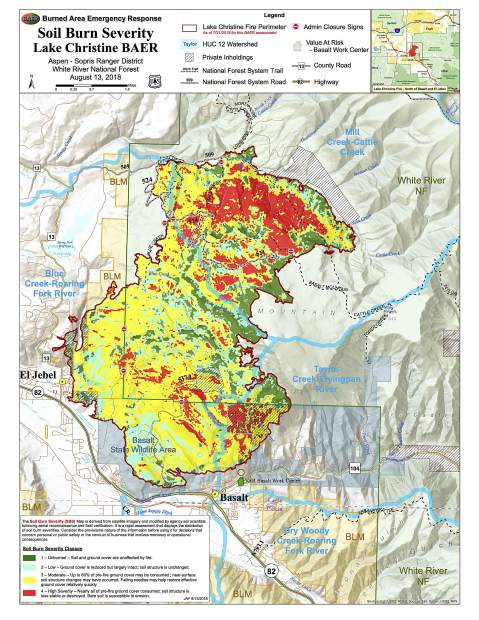 The red ares show the highest burn severity on Basalt Mountain. Three popular trails partially cross through high burn severity terrain.