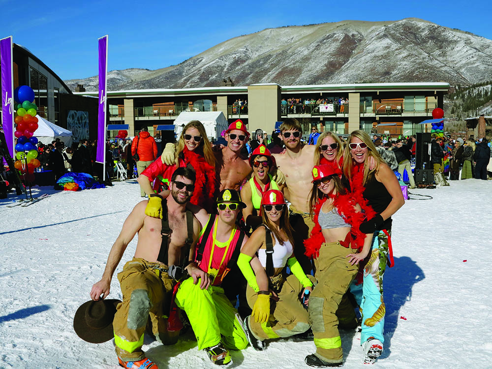 The Aspen Club's firefighting squad and winners of Aspen Gay Ski Week's Downhill Costume Contest. Circa 2016.