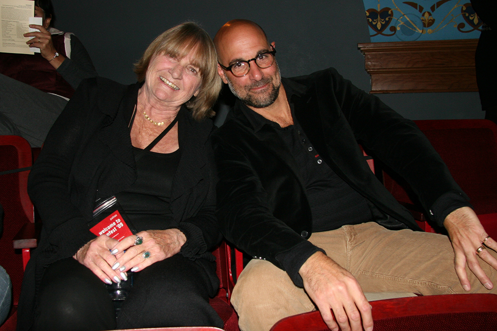 Helen Klanderud, Aspen mayor and Aspen Film board member, with Stanley Tucci at Aspen Filmfest. Circa 2009.