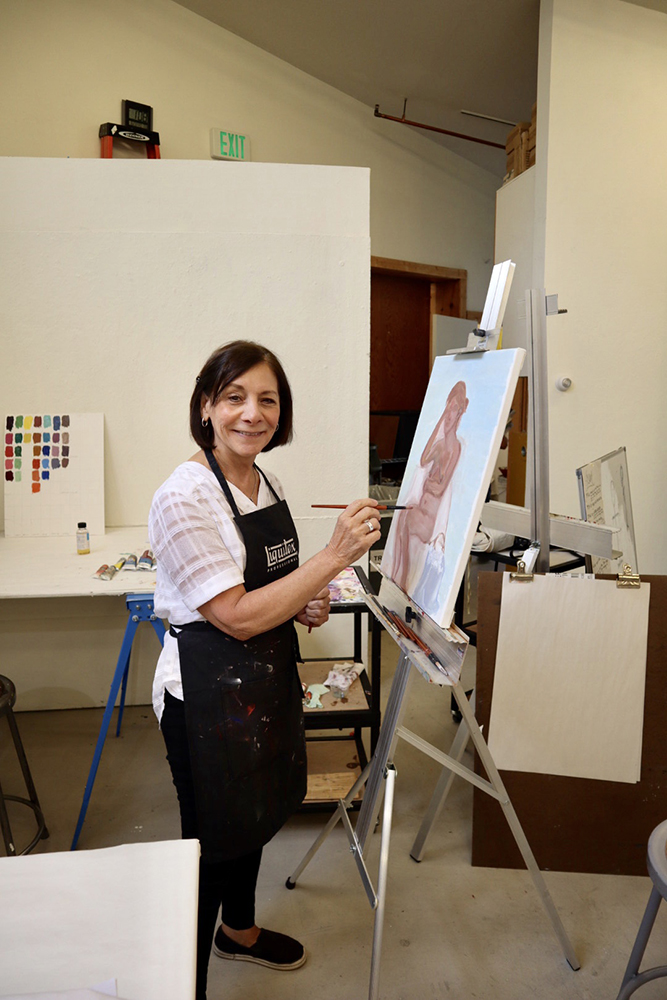 Artiste Rose Roberts at a painting workshop at Anderson Ranch in August.