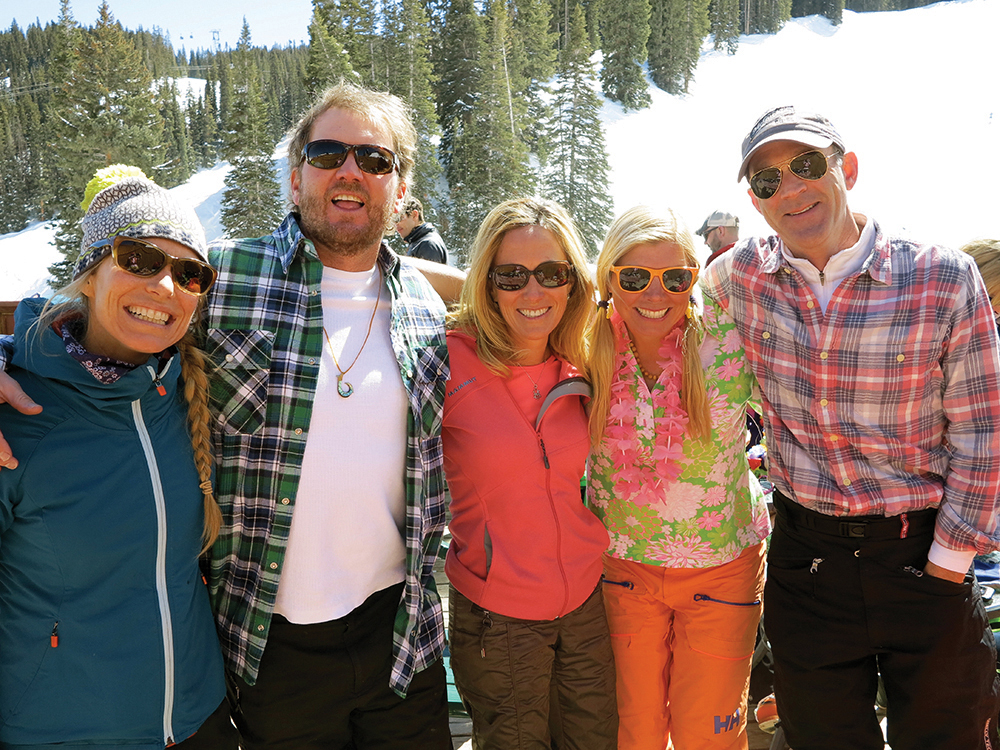 Basking in the sun at Bonnie's Bash on Aspen Mountain. Christy Mahon, Gary Moore, Megan Shean, Lea Tucker and Patrick O'Neil. Circa 2016.