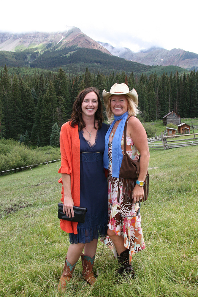 Amy Anderson with Karin Gieske, who was instrumental in getting a jumpstart on this column, at Clay and Jill Lowery's wedding in Telluride. Circa 2008.