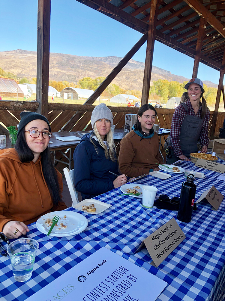 Pie contest judges Megan Vanison, Chef-in-residence at Rock Bottom Ranch; Lacy Hughes – Chef at Silo; and Adam Ting – Farmer at Wild Mountain Seeds with Alyssa Barsant, Agriculture Manager at Rock Bottom Ranch.