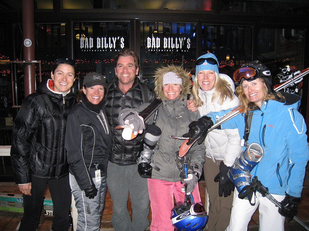 Valerie Yaw, Lyndell Hendricks, Torre, Kathy Fry, Holly Bornemeier and Sarah Manning leaving apres at Bad Billy's. Circa 2009.