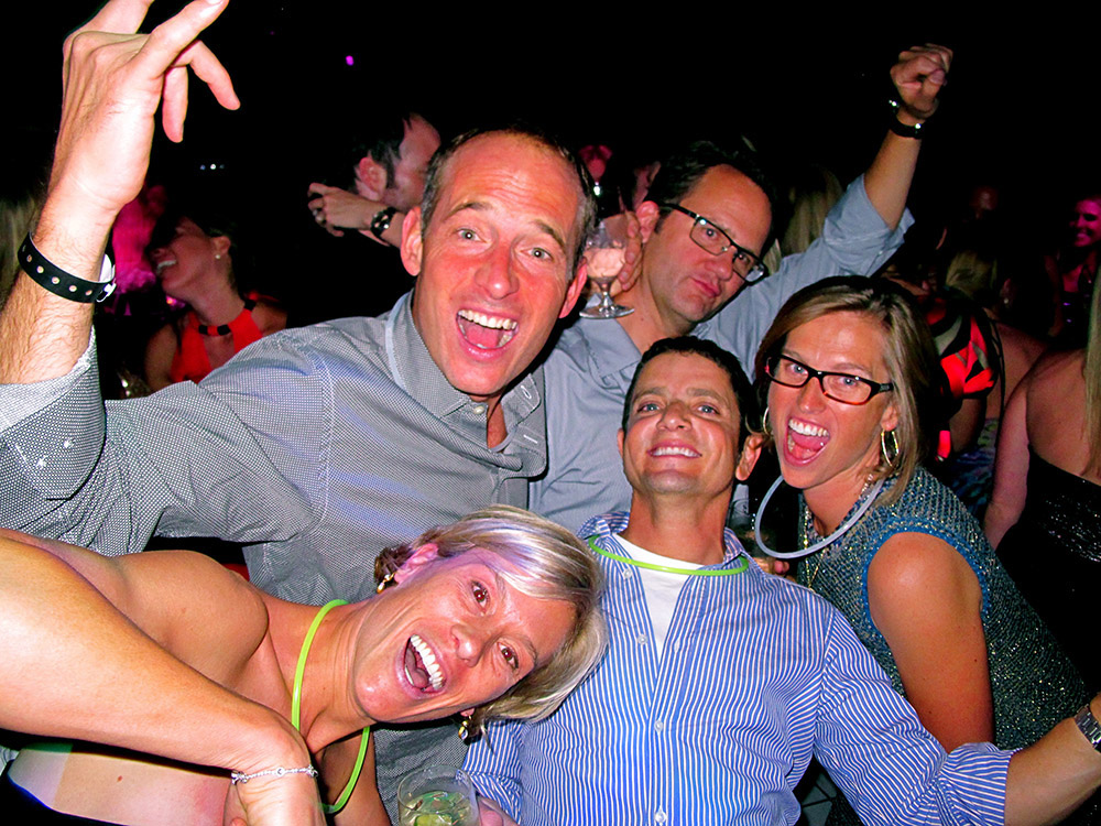 Having a fab time at Boogie's Bash. Clockwise from bottom left - Jess Budinger, Bill Budinger, John Rowland, Sarah Broughton and David Chazen. Circa 2012.