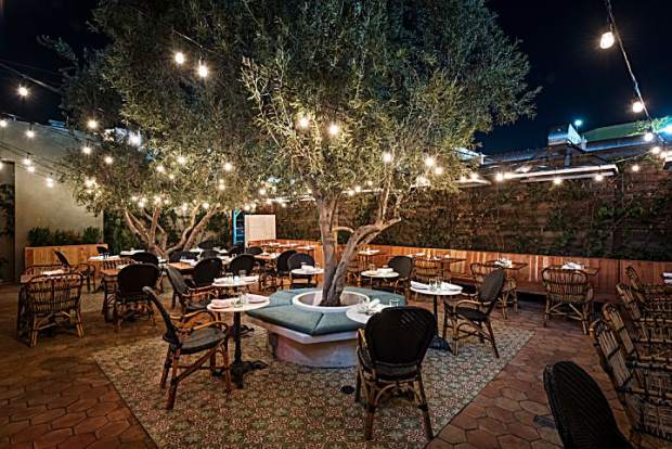 The outdoor smoking garden is a lush oasis within West Hollywood.