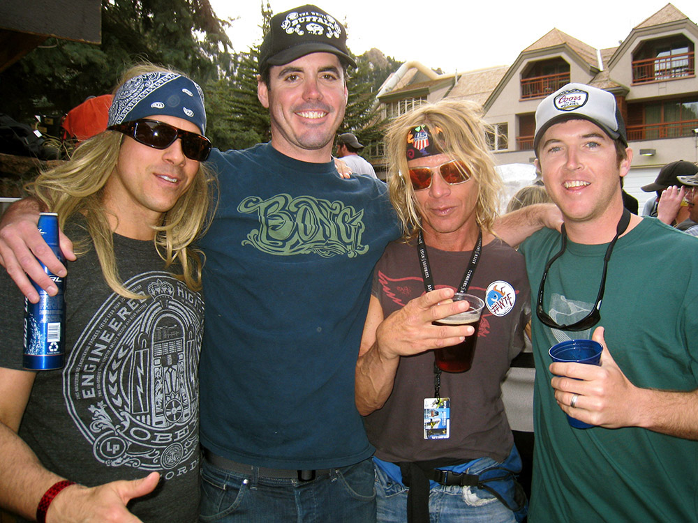 Denis Cote, Brady Young, Benny the Blade and Jason Thomas close out ski season at a Sky Hotel pool party. Circa 2010.