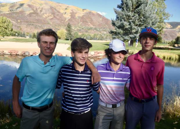 From left, Aspen High School golfers Jack Pevny, Nic Pevny, John Hall and Lucas Lee pose for a photo on Friday, Oct. 4, 2019, at Aspen Golf Club. The four will compete as a team in the state golf tournament Monday and Tuesday in Colorado Springs. (Photo by Austin Colbert/The Aspen Times)