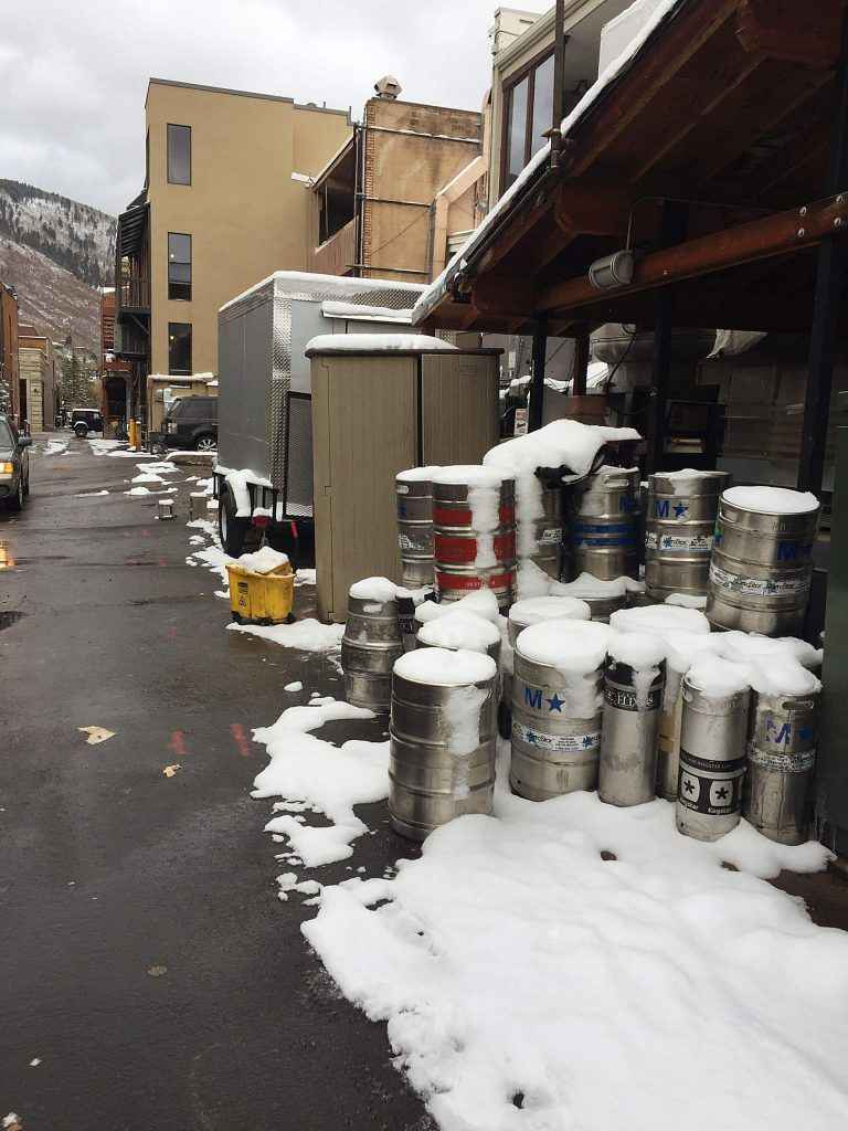 Kegs and other items stored in a downtown Aspen alley will be removed by the city on Thursday as part of an alleyway beautification day.