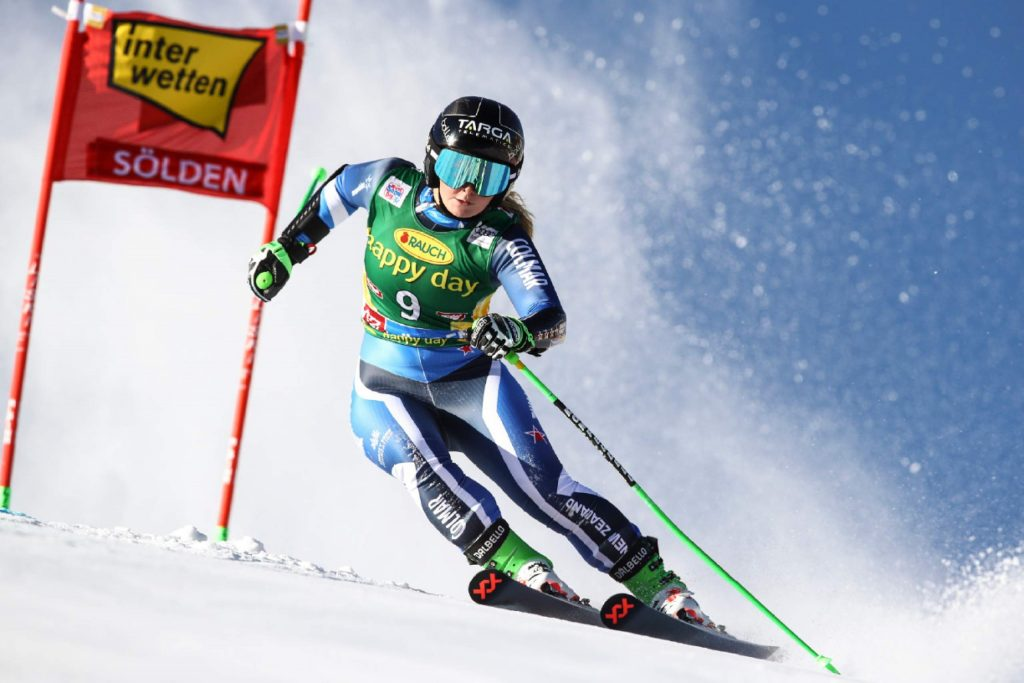 New Zealand's Alice Robinson competes during an alpine ski, women's World Cup giant slalom in Soelden, Austria, Saturday, Oct. 26, 2019. (AP Photo/Marco Trovati)