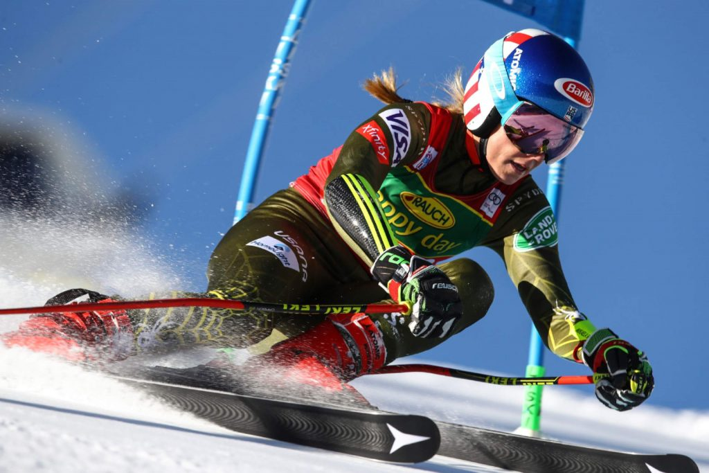 United States' Mikaela Shiffrin competes during an alpine ski, women's World Cup giant slalom in Soelden, Austria, Saturday, Oct. 26, 2019. (AP Photo/Marco Trovati)