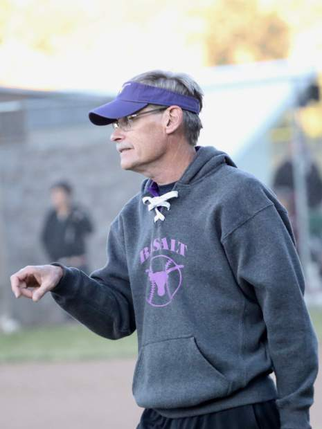 Basalt softball coach David Miller gives instructions as the team plays against Palisade on Tuesday, Oct. 8, 2019, in Basalt. (Photo by Austin Colbert/The Aspen Times)