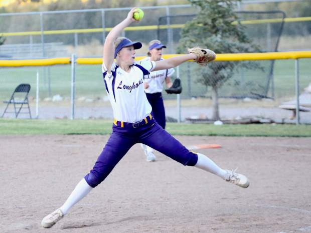 Basalt junior Maya Lindgren pitches as the softball team plays against Palisade on Tuesday, Oct. 8, 2019, in Basalt. (Photo by Austin Colbert/The Aspen Times)