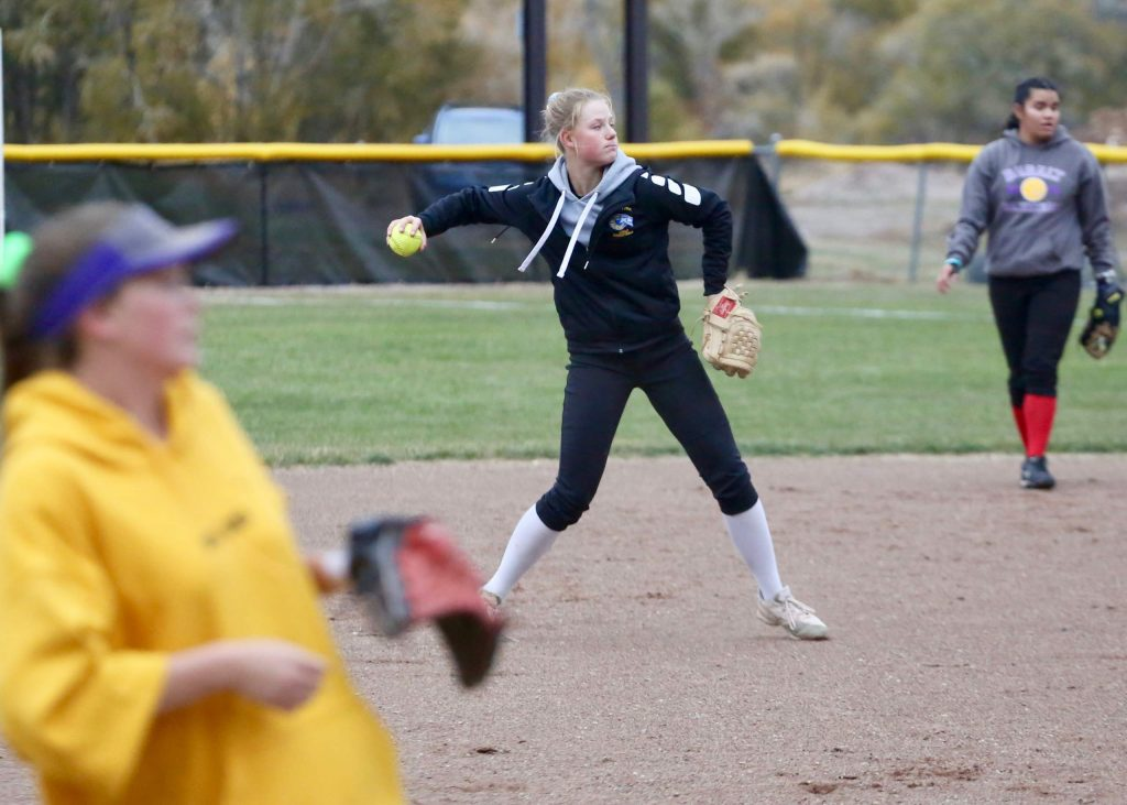 Basalt junior Maya Lindgren makes a throw to first base during softball practice on Tuesday, Oct. 22, 2019, in Basalt.