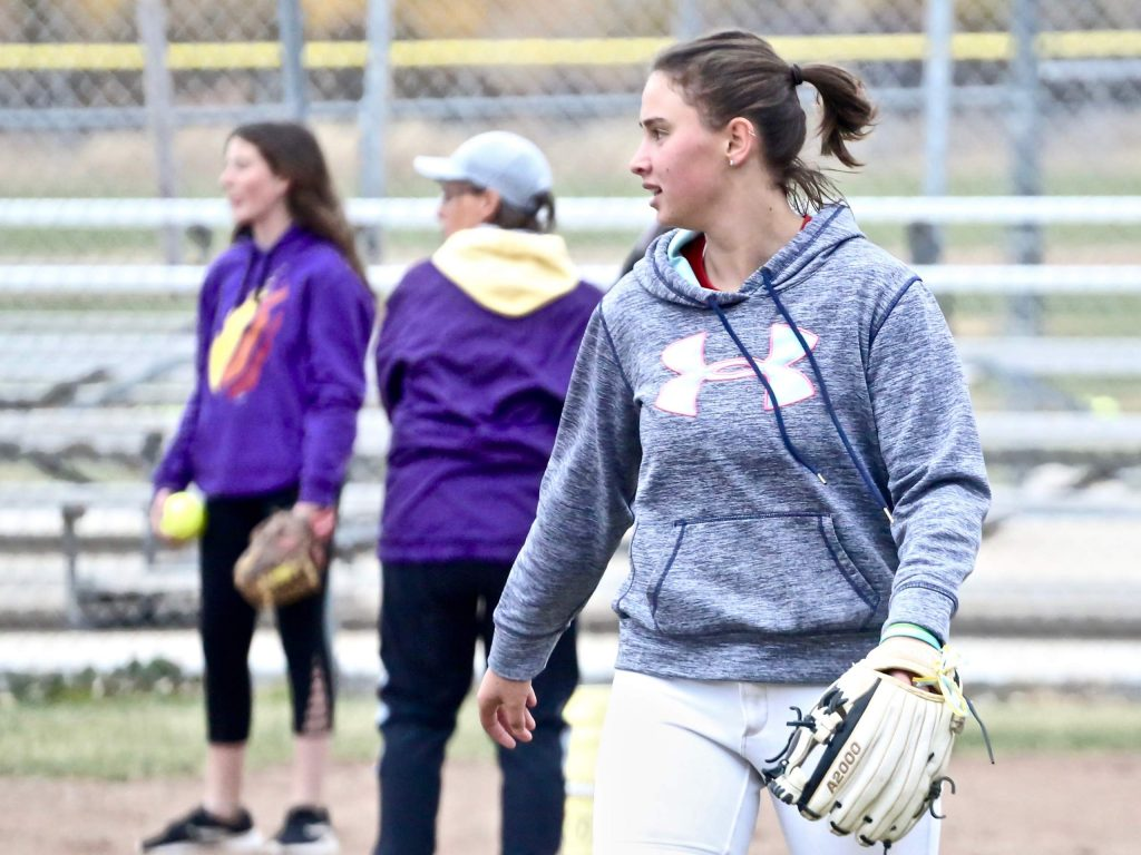 Basalt High School senior Zoe Vozick walks back to third base during softball practice on Tuesday, Oct. 22, 2019, in Basalt.