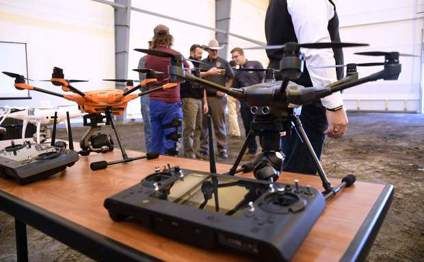 A variety of drones of different shapes, sizes, and uses were on display during Tuesday's event. The 7,000 square foot indoor structure will be instrumental in testing new drone technology to aid the public service sector.