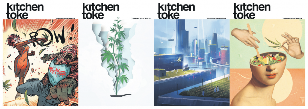 Kitchen Toke's recent covers (the Fall 2019 issue is far left).