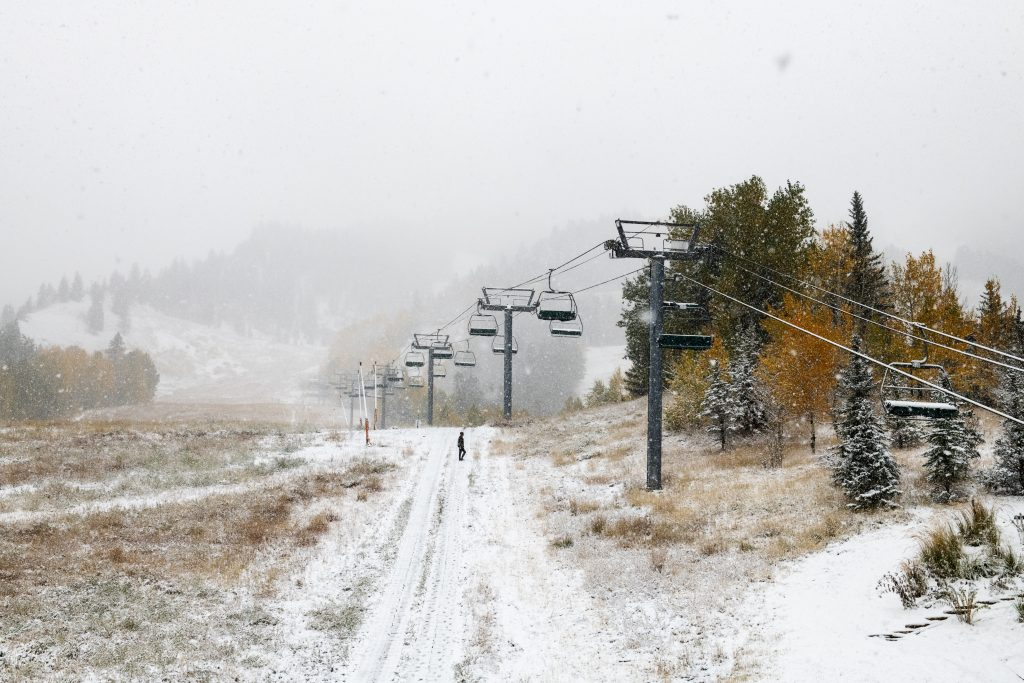 Snow falls on the bottom of Aspen Mountain on Thursday, October 10, 2019.