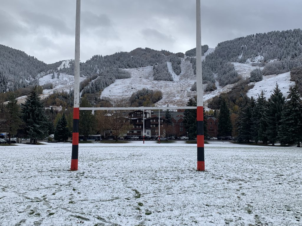Fresh snow lightly covers Wagner Park and Aspen Mountain on Friday, October 18.
