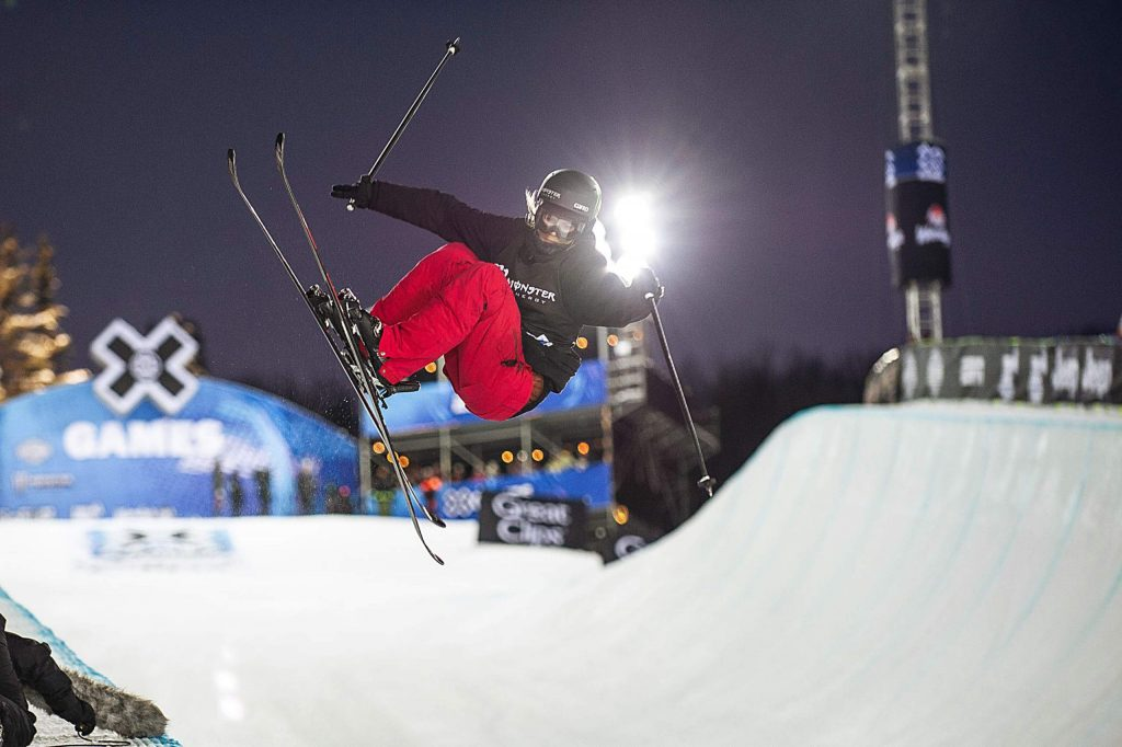 Cassie Sharpe of Canada executes a trick during one of the final runs for the X Games women's ski superpipe competition at Buttermilk Mountain in Aspen on Thursday. Sharpe took first with a high score of 94 on her third run.