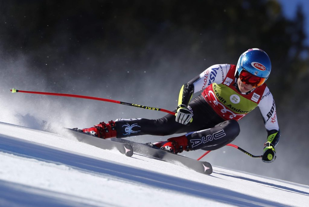 FILE - In this Thursday, March 14, 2019 file photo, United States' Mikaela Shiffrin competes during the women's super G race at the alpine ski World Cup finals, in Soldeu, Andorra. A new Alpine ski season starts this month, Oct. 2019, with Mikaela Shiffrin the expected superstar and China poised to be a surprise success. Shiffrin is the sport's most bankable star after Lindsey Vonn, Marcel Hirscher, and Aksel Lund Svindal all retired. (AP Photo/Gabriele Facciotti, File)