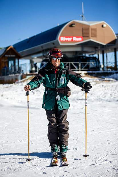 89-year-old Armen Melikian of Berthoud, Colo. enjoys skiing another opening day on Saturday, Oct. 12, at Keystone Resort. Melikian has been skiing for 51 years.