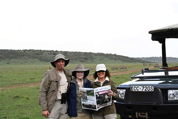 Reader Carol Dopkin (far right) joined her son Rich and Tana Orman on safari in Masai Mara National Reserve in Kenya. They brought along a copy of The Aspen Times for the adventure.