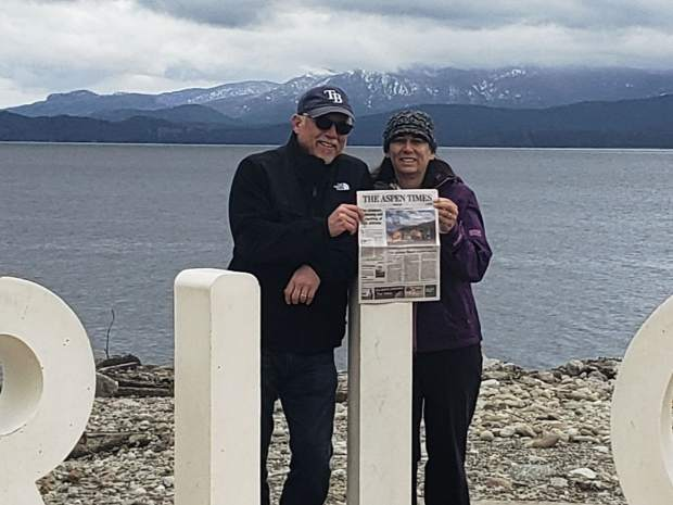 Randy and Shannon Ware show off The Aspen Times while in San Carlos de Bariloche, which is a sister city to Aspen. The Wares split their time between Aspen and Belleair, Florida.