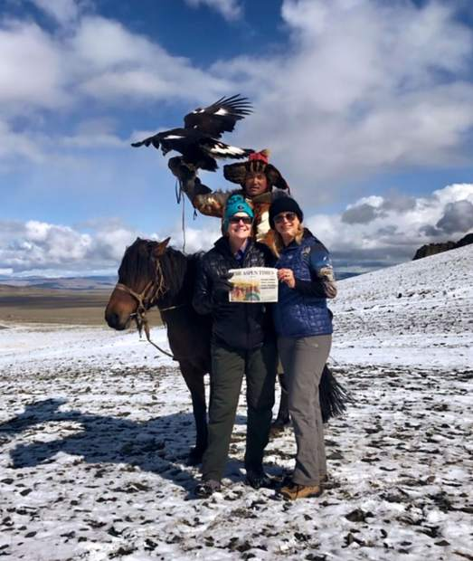 Snowmass residents Nancy Burns and Joanne Houck recently traveled to the Altai Eagle Festival In Western Mongolia with their Aspen Times. Email your
