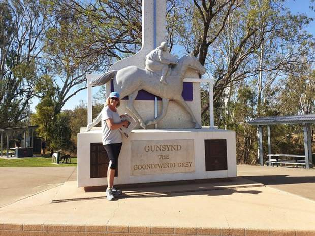 Carol Ormes, mother of local Shelley Roy, recently visited Aspen from Australia and later brought her Aspen Times to Goondiwindi, which essentially is outback Australia. Here she is pictured next to a statue of a great horse that came from the area. Email your