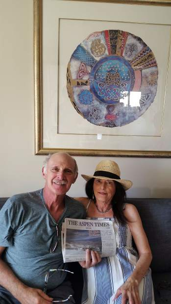 Readers Suzanne and Jerry Blumberg recently visited Suzzane's parents in Philadelphia, and they brought along The Aspen Times to stay up on the local news.