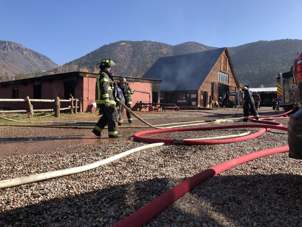 Firefighters suppressed a blaze in an outbuilding in Basalt on Monday morning.