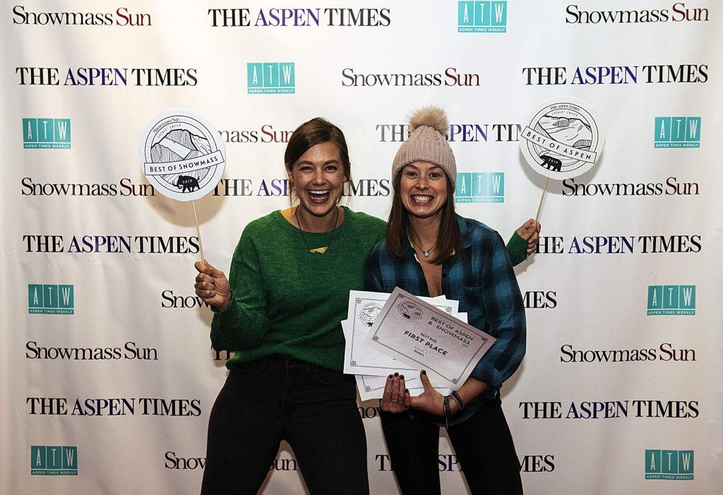 Representatives of Jimmy's hold up their awards for Best Wine List, Bar, Cocktail Menu, Margarita during the Best of Snowmass and Best of Aspen Party at The Wheeler on Wednesday, October 23, 2019. (Kelsey Brunner/The Aspen Times)
