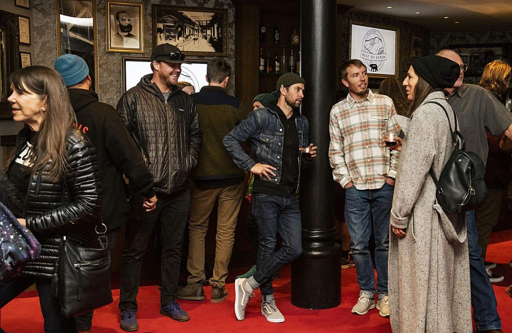 Best of Aspen and Best of Snowmass award recipients and friends mingle in the Bar Lobby of the Wheeler on Wednesday, October 23, 2019. (Kelsey Brunner/The Aspen Times)
