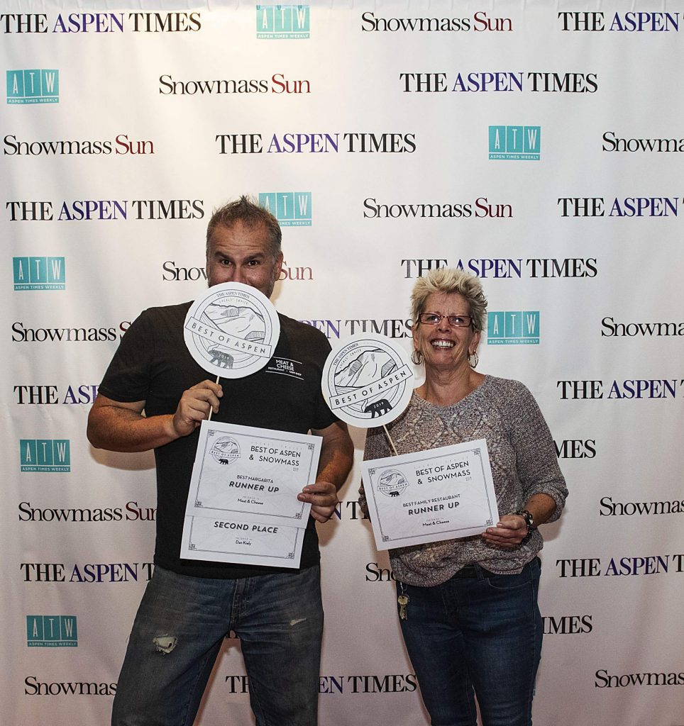 Meat and Cheese Dan Kiely poses with his award for Best Bartender and awards for Best Family Restaurant and Best Margarita during the Best of Aspen and Best of Snowmass Party at The Wheeler on Wednesday, October 23, 2019. (Kelsey Brunner/The Aspen Times)