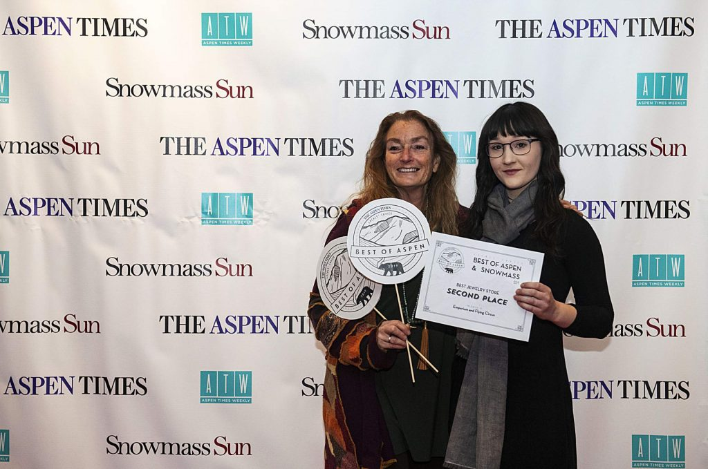 Best Jewelry Store Emporium and Flying Circus owner Shae Singer with Puma McFadden during the Best of Aspen and Best of Snowmass Party 2019 at The Wheeler on Wednesday, October 23, 2019. (Kelsey Brunner/The Aspen Times)
