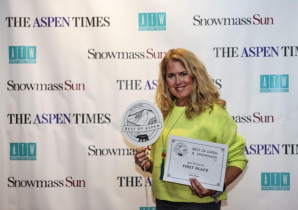 Best Socialite Nancy Mayer poses with her award during the Best of Aspen and Best of Snowmass Party at The Wheeler on Wednesday, October 23, 2019. (Kelsey Brunner/The Aspen Times)