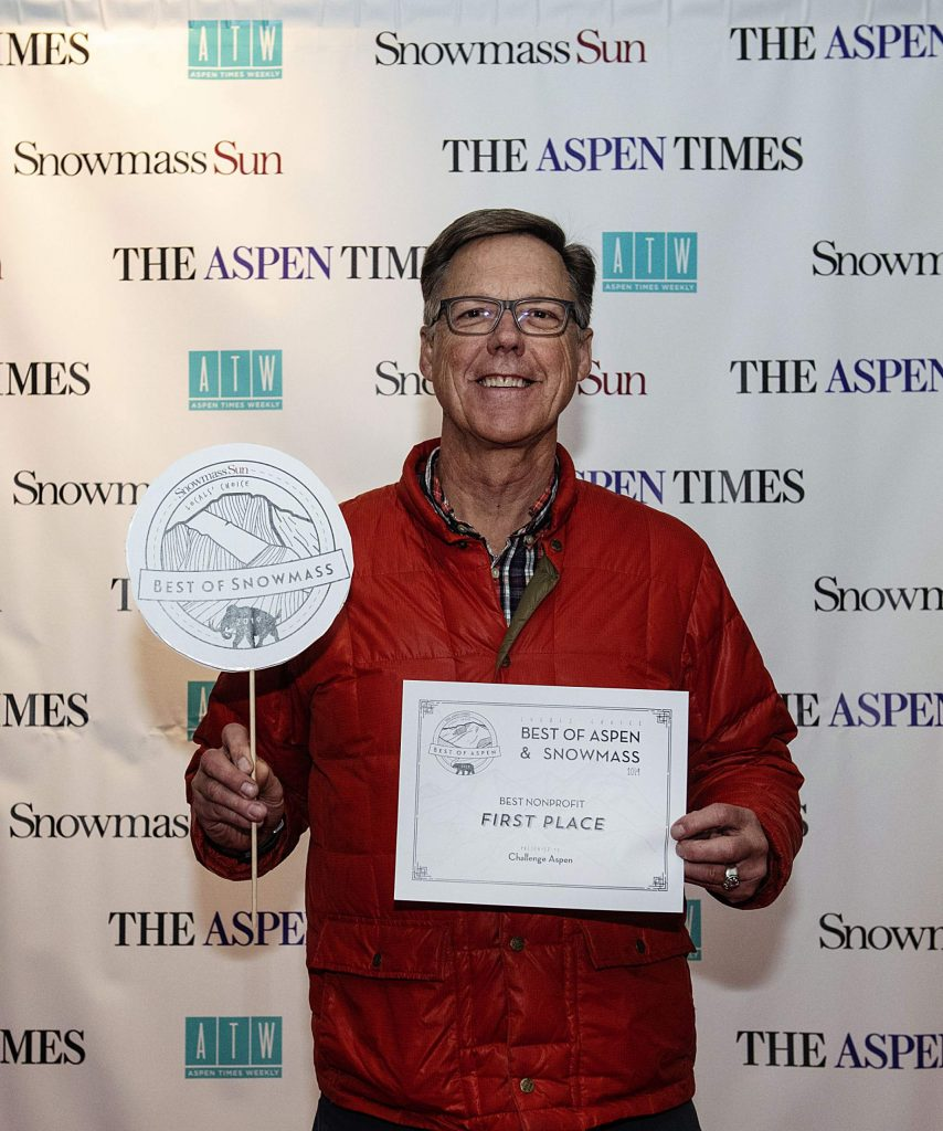 Challenge Aspen CEO Jeff Hauser holds up his award for Best Nonprofit during the Best of Aspen and Best of Snowmass Party at The Wheeler on Wednesday, October 23, 2019. (Kelsey Brunner/The Aspen Times)