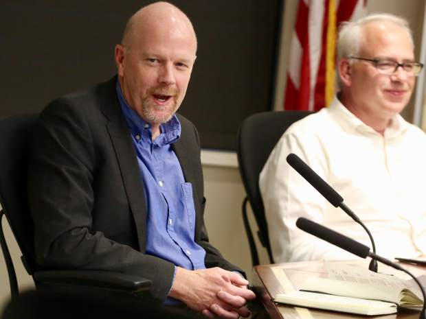 Jim Pomeroy, left, talks during the Aspen School District Board of Education candidate forum on Thursday, Oct. 17, 2019, at the Pitkin County building in Aspen. (Photo by Austin Colbert/The Aspen Times)