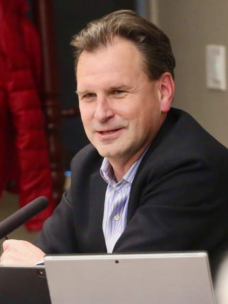 Jonathan Nickell talks during the Aspen School District Board of Education candidate forum on Thursday, Oct. 17, 2019, at the Pitkin County building in Aspen. (Photo by Austin Colbert/The Aspen Times)