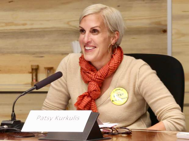 Patsy Kurkulis talks during the Aspen School District Board of Education candidate forum on Thursday, Oct. 17, 2019, at the Pitkin County building in Aspen. (Photo by Austin Colbert/The Aspen Times)