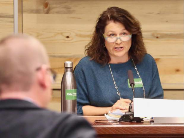 Katy Frisch talks during the Aspen School District Board of Education candidate forum on Thursday, Oct. 17, 2019, at the Pitkin County building in Aspen. (Photo by Austin Colbert/The Aspen Times)