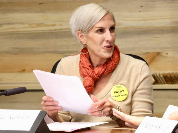 Patsy Kurkulis takes part in the Aspen School District Board of Education candidate forum on Thursday, Oct. 17, 2019, at the Pitkin County building in Aspen. (Photo by Austin Colbert/The Aspen Times)