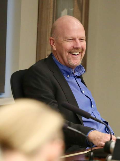 Jim Pomeroy laughs during the Aspen School District Board of Education candidate forum on Thursday, Oct. 17, 2019, at the Pitkin County building in Aspen. (Photo by Austin Colbert/The Aspen Times)