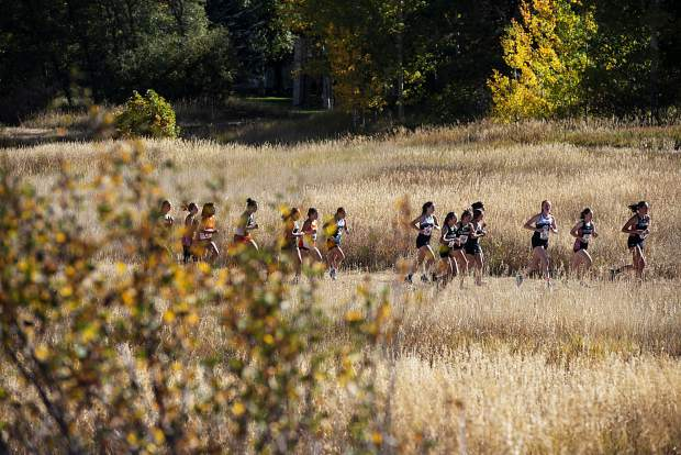 The Varsity Girls compete in the 2019 Chris Severy Cross Country Invitational hosted at Aspen High School on Saturday, October 5, 2019. (Kelsey Brunner/The Aspen Times)