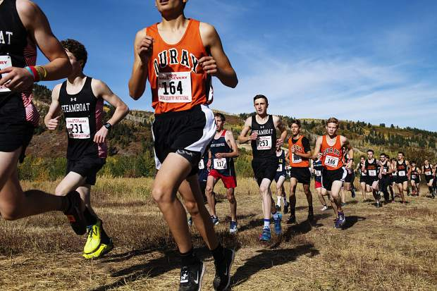 The Varsity Boys compete in the 2019 Chris Severy Cross Country Invitational hosted by Aspen High School on Saturday, October 5, 2019. (Kelsey Brunner/The Aspen Times)