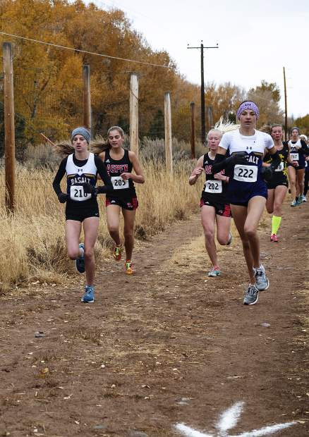 Varisty girls cross country athletes compete in the 3A regional meet at Crown Mountain Park in El Jebel on Friday, October 18, 2019. (Kelsey Brunner/The Aspen Times)